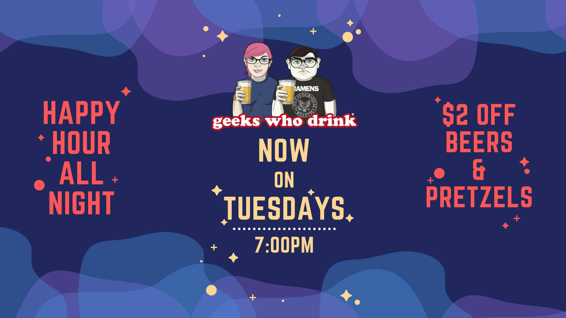 Geeks Who Drink on Tuesdays at 7:00pm